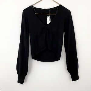 Black Gathered V-neck Crop Sweater